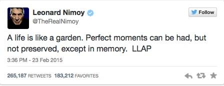 nimoy's last tweet