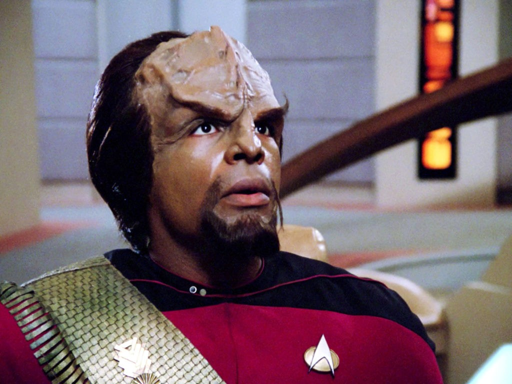 "LOS ANGELES - JANUARY 9: Michael Dorn as Lt. Worf in the Star Trek: The Next Generation episode, ""The Big Goodbye."" Season 1, episode 11.  Original air date January 9, 1988.  Image is a screen grab.  (Photo by CBS via Getty Images)"